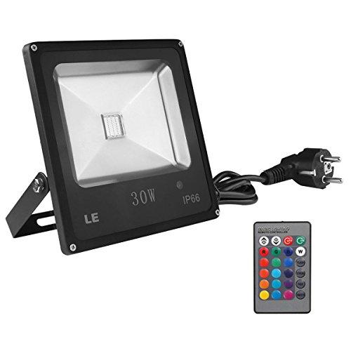 LE 30W RGB Fluter Mit Fernbedienung, LED Flutlicht, Farbwechselhafte LED Sicherheitsleuchte, 16 Farbe und 4 Beleuchtungsprogramme, Wasserdicht, Europäischer Stecker, LED Flutlichtstrahler, LED Strahler, LED Scheinwerfer, LED Außenleuchten