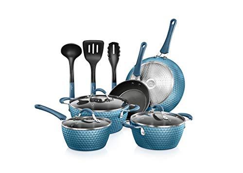 NutriChef Nonstick Cookware Excilon   Home Kitchen Ware Pots & Pan Set with Saucepan, Frying Pans, Cooking Pots, Lids…