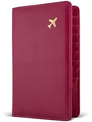 Passport Holder by POCKT - RFID Blocking Travel Wallet for Safe Trip, Document Organizer + Gift Box | Wine
