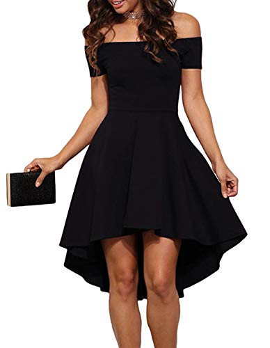 (Women's Summer Off Shoulder Blouses Short Sleeves Sexy Tops Chiffon Ruffles Casual T Shirt (XL, Z Black Cocktail Skater Dress))