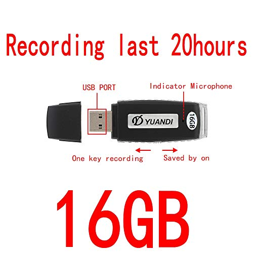 Digital Voice Recorder 16GB USB Portable Digital Audio Voice Recorder- No Flashing Light When Recording-Use as Dictaphone,One Button Recording 170 hours recording files