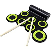 Electronic Drum Set, Paxcess Roll Up Drum Practice Pad Midi Drum Kit with Headphone Jack Built-in Speaker Drum Pedals Drum Sticks 10 Hours Playtime, Great Holiday Birthday Gift for Kids