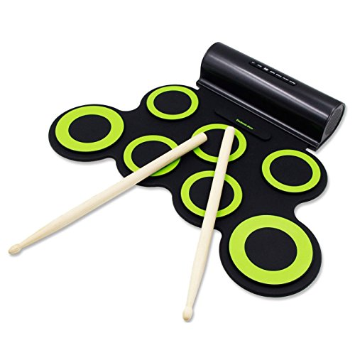 Image of the PAXCESS Electronic Drum Set, Roll Up Drum Practice Pad Midi Drum Kit with Headphone Jack Built-in Speaker Drum Pedals Drum Sticks 10 Hours Playtime, Great Holiday Birthday Gift for Kids
