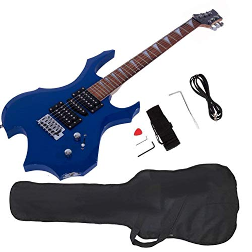 Glarry Cool Burning Fire Style Electric Guitar Christmas gift for Beginner Guitar Lover with Accessories Pack (blue)… by Galrry