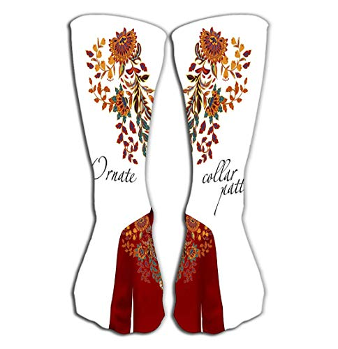- Outdoor Sports Men Women High Socks Stocking embroidery ethnic flowers neck pattern orange flower design fashion wearing presented brown layout Tile length 19.7