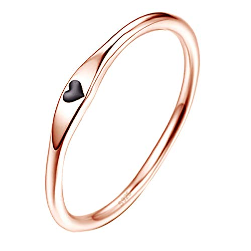 AVECON 925 Sterling Silver Heart Romantic Engagement Ring Rose Gold Plated Eternity Promise Ring for Women Size 10