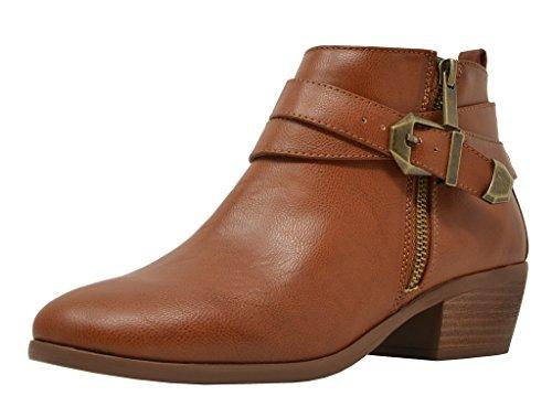 (TOETOS Women's Pitts-01 Tan Pu Block Heel Side Zipper Ankle Booties Size 9.5 M)