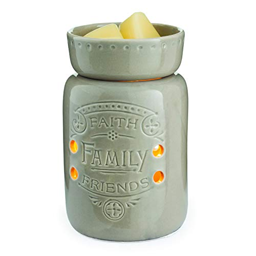 CANDLE WARMERS ETC  Midsized Illumination Fragrance Warmer- Light-Up Warmer For Warming Scented Candle Wax Melts and Tarts or Essential Oils To Freshen Room, Faith, Family, Friends