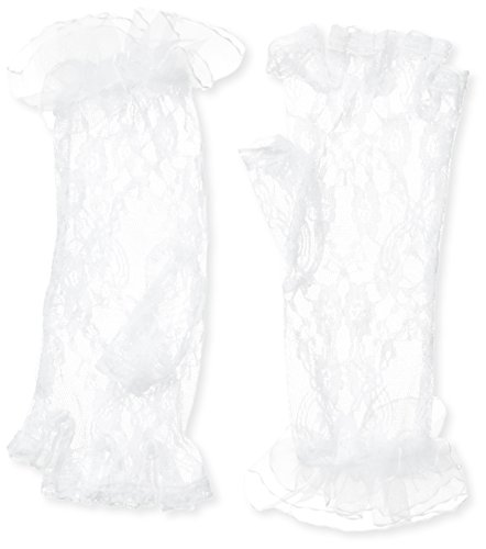Mid Arm Length Lace Gloves (Be Wicked Women's Fingerless Mid Arm Length Lace Gloves, White, One Size)