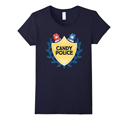 Womens Candy Police Halloween Couples Trick or Treat Novelty Shirt Large (Trick Or Treat Costumes For Couples)