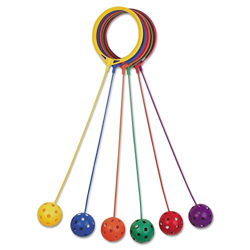Champion Sports Skip Ball Set: Six Jumping Toy Assorted Colors Swing Balls - Great Kids Fitness Game for Boys and Girls ()