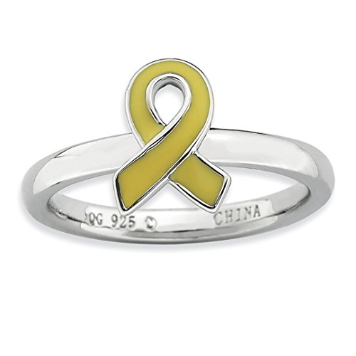 - 925 Sterling Silver Yellow Enameled Awareness Ribbon Band Ring Size 8.00 Stackable Fine Jewelry For Women Gift Set