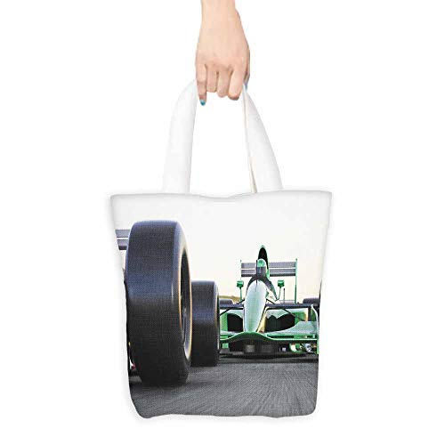 Washable tote,Cars Motorized Sports Theme Indy Cars on Asphalt Road with Motion Blur Formula Race,Fits in Pocket Waterproof & Lightweight,16.5