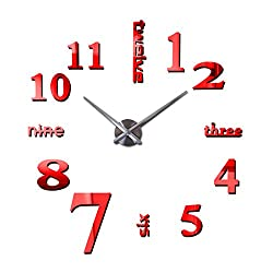 New 3D DIY Mirror Surface Wall Clocks Modern Design Living Room Decorative Wall Watches (Red)