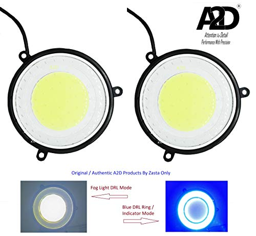 A2D 2.5″ inch Full COB Combo Of Car Fog Lamps LED DRL Lights WITH Turn Indicator Signal Double Colour White & BLUE Set of 2 For Maruti Suzuki Eeco