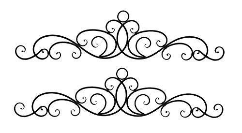 - Distinctive Designs Antique Bronze Metal Elegant Scrolls Wall Pediment Set of 2