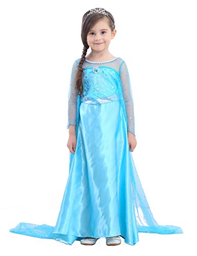 Glitter Princess Costumes Girls Ice Queen Dress up Kids Halloween Fancy Outfit ()