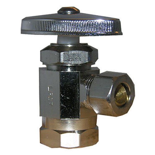 LASCO 06-7203 Angle Stop Valve, Standard Duty, 1/2-Inch Female Iron Pipe Inlet X 3/8-Inch Compression Outlet, Chrome