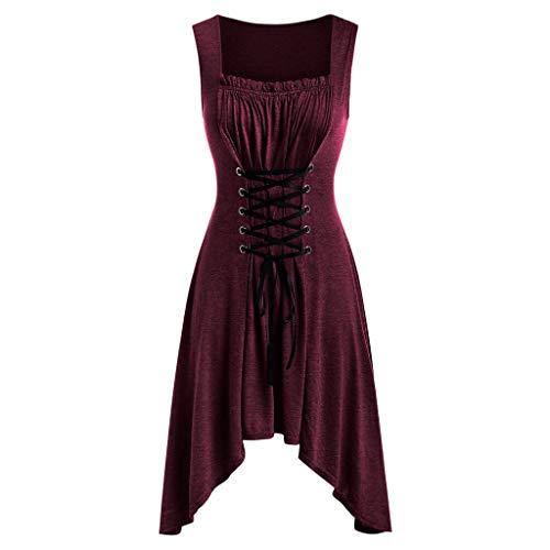 Lelili Women Solid Color Pleated Irregular Dress Lace Up Mid Dress Sleeveless Round Neck Casual Dress Wine