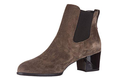 Hogan botines de tacón botas mujer en ante nuevo h272 tronchetto liscio elastico
