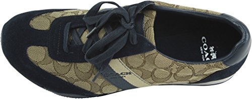 Coach Mujeres Kelson Low Top Lace Up Zapatillas De Moda Khaki / Midnight Navy Sig / Suede