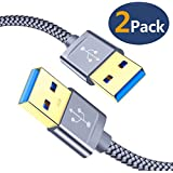 USB 3.0 A to A Male Cable, JSAUX USB to USB Cable 2 Pack(3.3ft+6.6ft) USB Male to Male Cable Double End USB Cord with Gold-Plated Connector for Hard Drive Enclosures, DVD Player, Laptop Cooler (Grey)