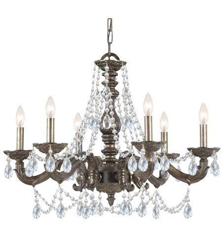 Chandeliers 6 Light Fixtures with Venetian Bronze Finish Wrought Iron Material Candelabra 28