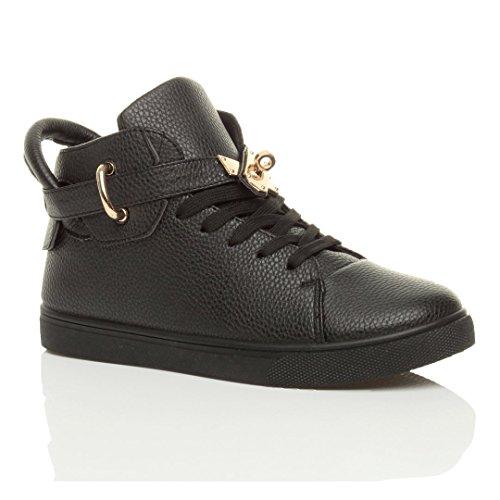 Damen Flach Schnüren Gold-Gürtel Spange High-Top Sneaker Stiefeletten Größe Schwarz / Schwarz Sohle
