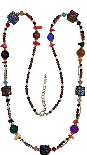 Strand Venetian Necklace (Multicolor Venetian Style Glass Beaded Necklace Beautiful necklace with silver plated finings.)