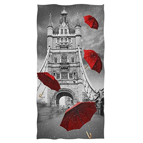 Naanle Stylish London Bridge with Flying Red Umbrella Print Soft Guest Hand Towels Multipurpose for Bathroom, Hotel, Gym and Spa (16