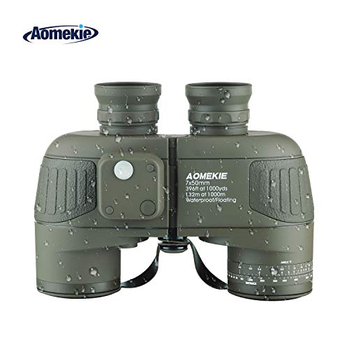 Aomekie Binoculars for Adults 7X50 Marine Military Binoculars Waterproof Fogproof with Compass Rangefinder BAK4 Prism Lens for Navigation Birdwatching Boating and Hunting (Army Green)