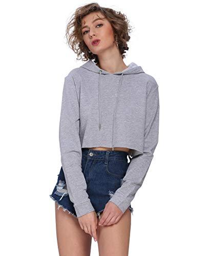 (Moxeay Hoodie Sport Crop Top Sweatshirt Jumper Pullover Tops(S,)