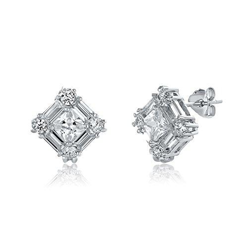 Montage Jewelry Women's Baguette & Square Shape Cubic Zirconia Sterling Silver Stud Earrings ()