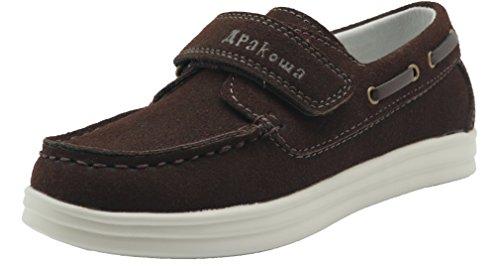 (Apakowa Kids Boys Loafers Casual Slip On Boat Shoes (Toddler/Little Kid/Big Kid) (2 M US Little Kid, Brown))