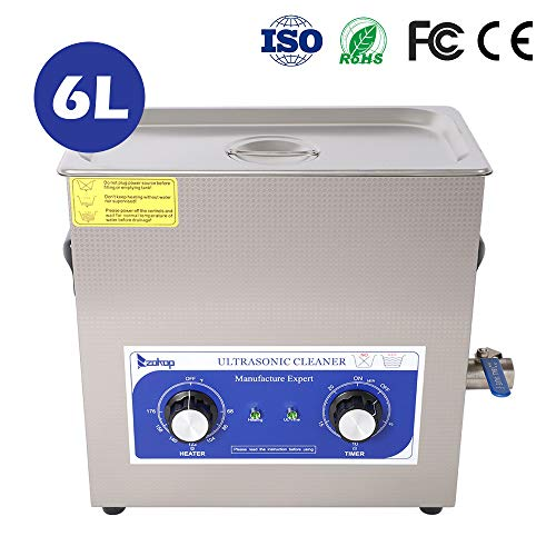 ZOKOP Ultrasonic Cleaner,Professional Sonic Cleaner w/Mechanical Timer Heater, Knob Control, Stainless Steel Low Noise for Cleaning Jewelry, Rings, Eyeglasses, Lenses, Dentures, Watches ()