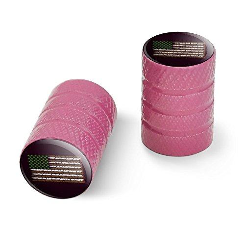 マリファナウィードアメリカフラッグアメリカンジョイントオートバイ自転車バイクタイヤリムホイールアルミバルブステムキャップ - ピンク