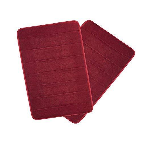 Drhob 2Pcs Burgundy Red 17x 24 Non Slip Coral Velvet Bathmat Absorbent Bath Rugs Memory Foam Bath Mats with Anti-Skid Bottom