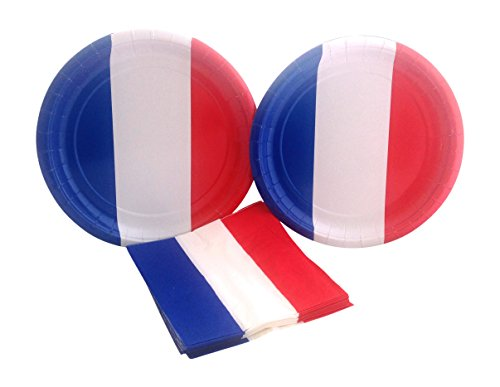 French Flag Party Supply Bundle with Paper Plates and Napkins for 16 -