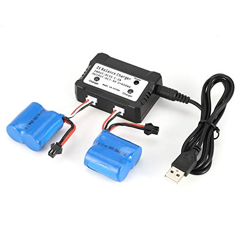 camellia-uk 2pcs 7.4V 600mAh Rechargeable Li-ion Battery with 2 in 1 Charger for RC Boat Skytech H100 H102 H106 Syma Q2 Q3 Spare Parts