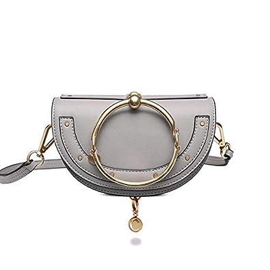 summer new metal ring half moon luxury handbags women messenger bags  designer famous brands cloe channel bag high quality grey  Amazon.in  Shoes    Handbags 607550464131f