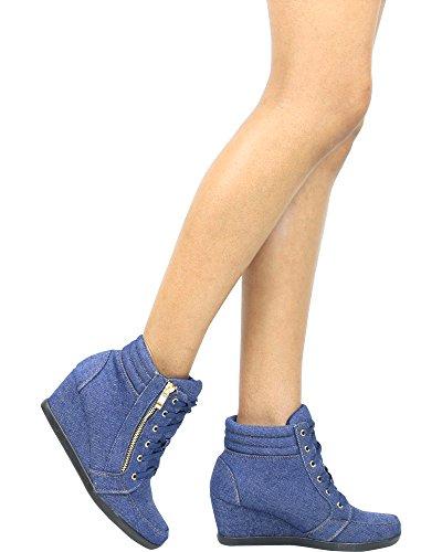 Sneakers Zeppa Con Cerniera Laterale Oro Per Sempre Donna - Blue Jeans Nero