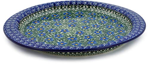 Polish Pottery 13-inch Fluted Oval Platter made by Ceramika Artystyczna (Blue Daisy Dream Theme) Signature UNIKAT + Certificate of Authenticity -