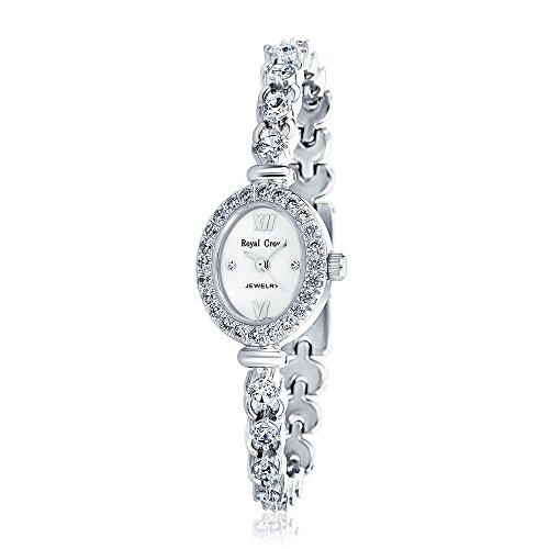 (Bling Jewelry Oval MOP Dial CZ Open Link Bracelet Watch Rhodium Plated)