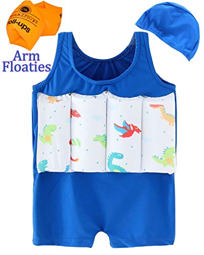 CHARMCZ Boys Girls Swimming Float Suit Buoyancy Kids Life Jacket Summer Training Swimsuit with Swim Cap Arm Floaties for 1-6Y (B-Blue, 2-3Y/Height34-36)]()