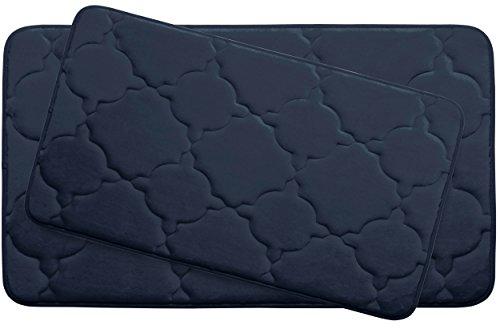"Dorothy Premium Extra Thick Memory Foam 2-Piece Bath Mat Set with BounceComfort Technology, 20"" x 32"" Indigo -  Creative Home Ideas, YMB003705"