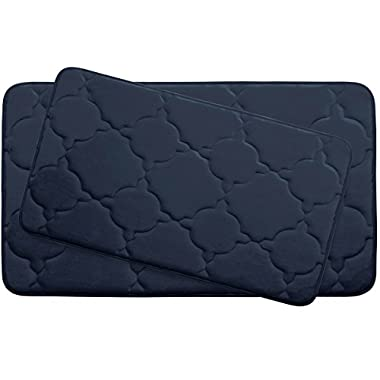 Bounce Comfort Extra Thick Memory Foam Bath Mat Set - Dorothy Premium Plush 2 Piece Set with BounceComfort Technology, 20 x 32 in. Indigo