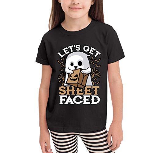 Ambulseek Baby Boys Kids Let's Get Sheet Faced Halloween Ghost-1 Cotton Short Sleeve T-Shirt Size 2-6 -