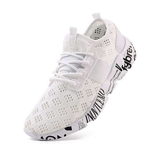 Wander G Men's Lightweight Breathable Mesh Street Sport Walking Shoes Casual Sneakers for Sports Gym Walking(44 EU = Men 10.5 D(M) US,White) ()