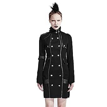 Punk Black High Collar Slim Casual Dress Women Long