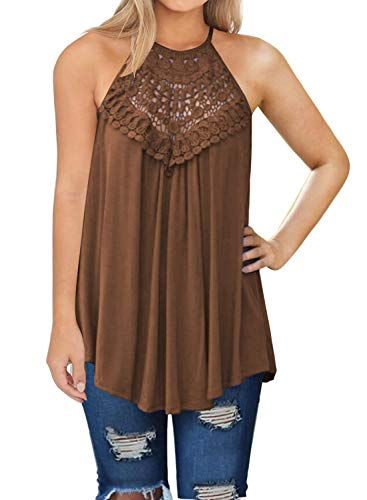 - MIHOLL Womens Summer Casual Sleeveless Tops Lace Flowy Loose Shirts Tank Tops (X-Large, Coffee)